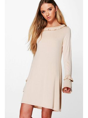BOOHOO Stacey Ruffle Sleeve And Collar Shift Dress