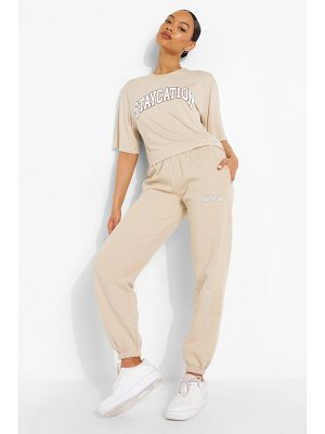 Boohoo Staycation Slogan Joggers