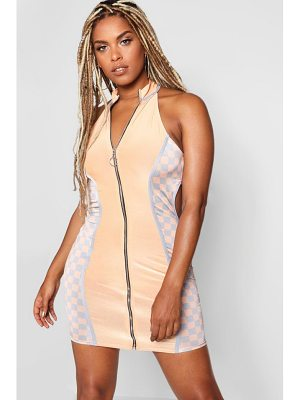 Boohoo Zip Through Cut Out Dress
