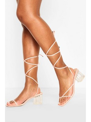 Boohoo Strappy Clear Low Block Heels