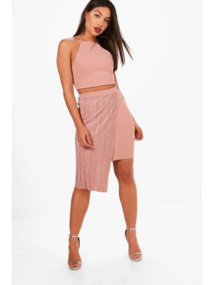 Boohoo Strappy Crop and Pleated Mini Skirt Set