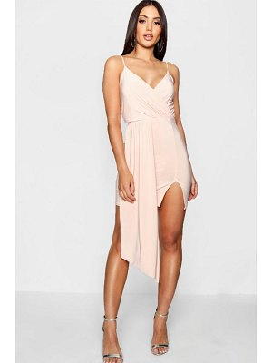 Boohoo Strappy Drape Front Wrap Bodycon Dress