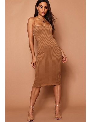 Boohoo Strappy Jumbo Rib Midi Dress