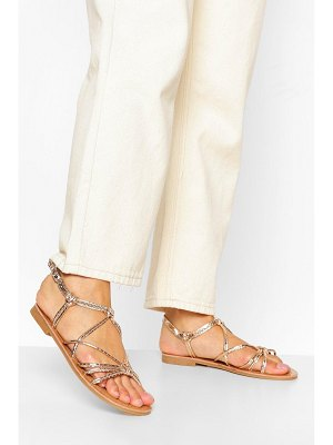 Boohoo Strappy Knot Front Flat Sandal