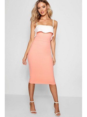 Boohoo Strappy Layered Top Midi Dress