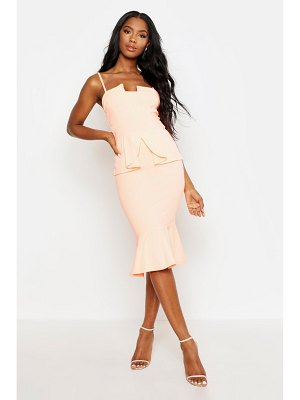 Boohoo Strappy Panelled Peplum Midi Dress