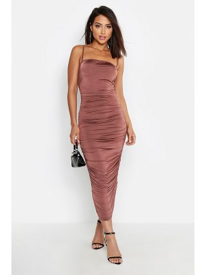 Boohoo Strappy Square Neck Ruched Midaxi Dress