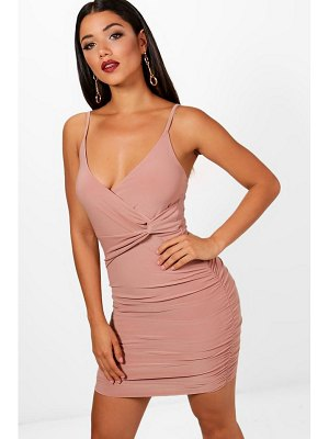Boohoo Strappy Wrap Detail Bodycon Dress