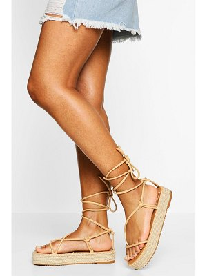 Boohoo Strappy Wrap Up Espadrille Flatforms