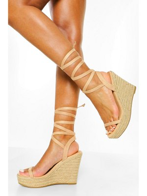 Boohoo Strappy Wrap Up Wedge