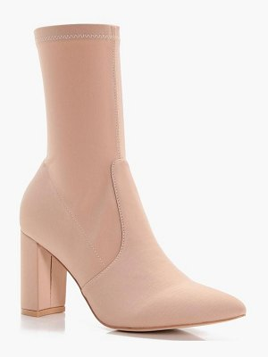 Boohoo Stretch Pointed Toe Sock Shoe Boots