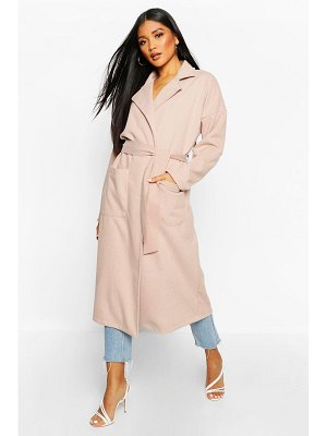 Boohoo Stripe Belted Wool Look Coat