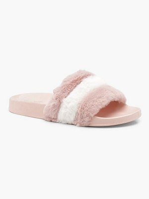 Boohoo Stripe Pastel Faux Fur Sliders