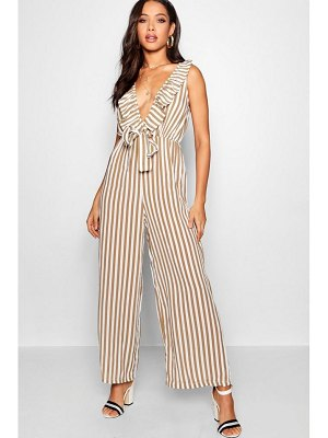 13bb5cd2a42f Boohoo Stripe Plunge Ruffle Tie Front Jumpsuit