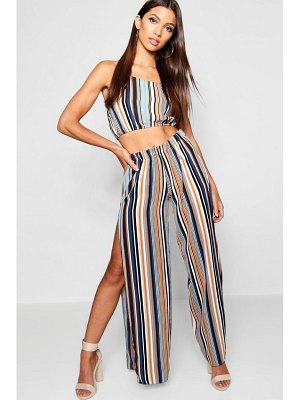 Boohoo Stripe Woven Wrap Trouser & Crop Co-Ord