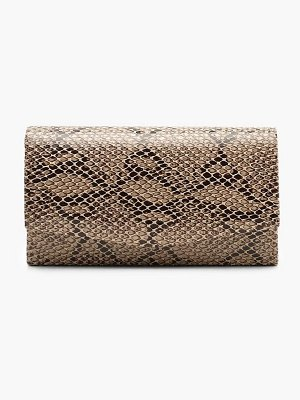 Boohoo Structured Faux Snake Envelope Clutch