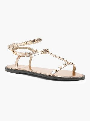 Boohoo Studded T-Bar Sandals
