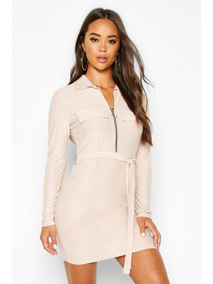 Boohoo Suede Belted Utility Mini Dress