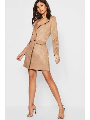 Boohoo Suedette Double Breasted Blazer Dress