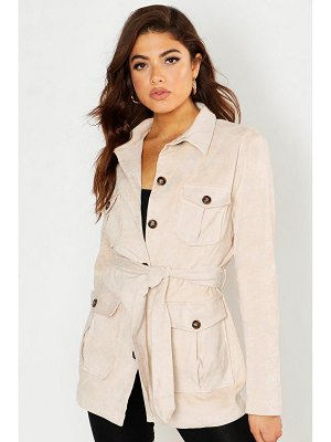 Boohoo Suedette Double Pocket Utility Jacket
