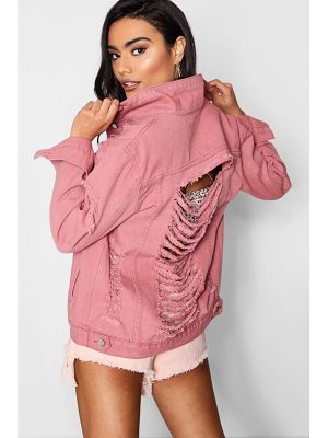 BOOHOO Sully Distressed Oversize Denim Jacket