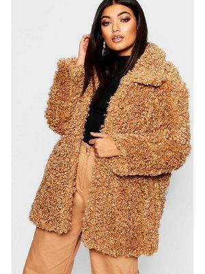 Boohoo Premium Teddy Faux Fur Coat