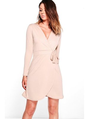 BOOHOO Suzannah Tie Wrap Skater Dress