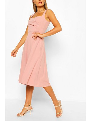 Boohoo Sweetheart Neck Wrap Midi Skater Dress
