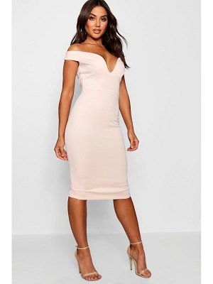 Boohoo Sweetheart Off Shoulder Bodycon Midi Dress