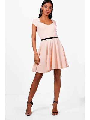 Boohoo Sweetheart V Neck Skater Dress