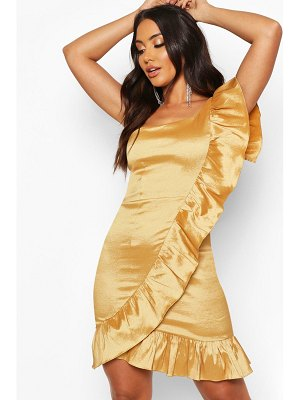 Boohoo Taffeta One Shoulder Ruffle Dress