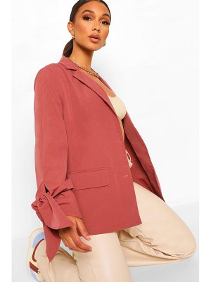 Boohoo Tailored Tie Sleeve Pocket Blazer