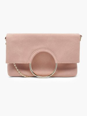 Boohoo Tammi Foldover Ring Clutch With Chain