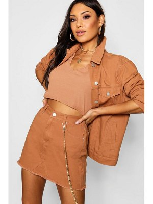 Boohoo Tan Denim Mini Skirt