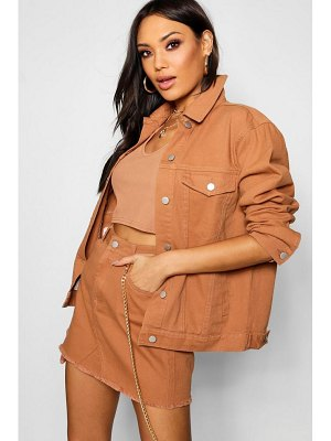 Boohoo Tan Oversized Denim Jacket