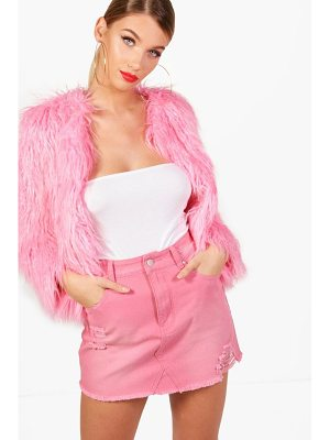 BOOHOO Tara Dusky Pink Distressed Denim Mini Skirt