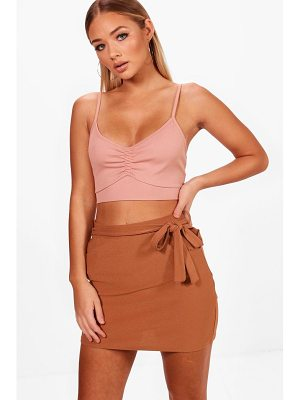 BOOHOO Tara Pocket Front Tie Waist Crepe Mini Skirt