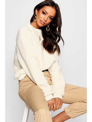 Boohoo Teddy Faux Fur Crew Neck Sweat