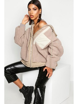Boohoo Teddy Faux Fur Double Layer Jacket