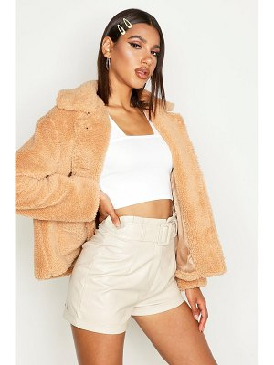 Boohoo Teddy Faux Fur Oversized Trucker