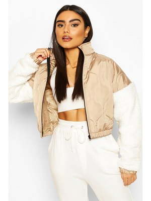 Boohoo Teddy Faux Fur Sleeve Quilted Bomber