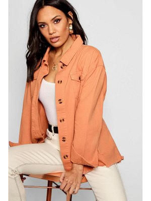 Boohoo Terracotta Mock Horn Button Belted Jacket