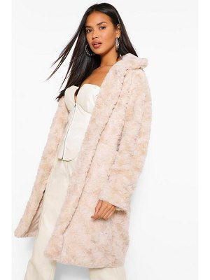 Boohoo Textured Faux Fur Coat