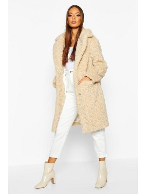 Boohoo Textured Faux Fur Collared Coat
