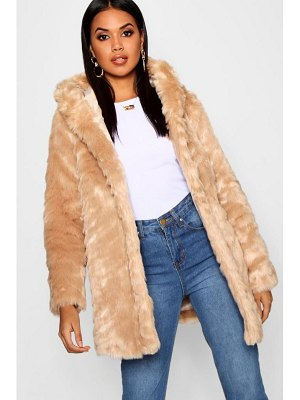 Boohoo Textured Hooded Faux Fur Coat
