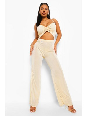 Boohoo Textured Slinky Cut Out Wide Leg Jumpsuit