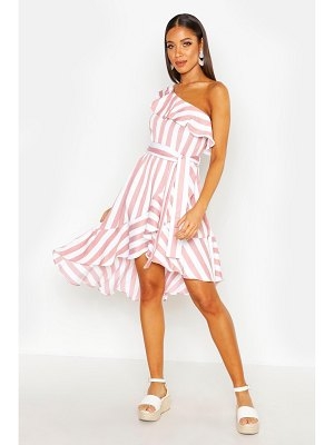 Boohoo Textured Stripe Ruffle Hem Midi Dress