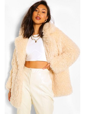 Boohoo Textured Teddy Faux Fur Coat