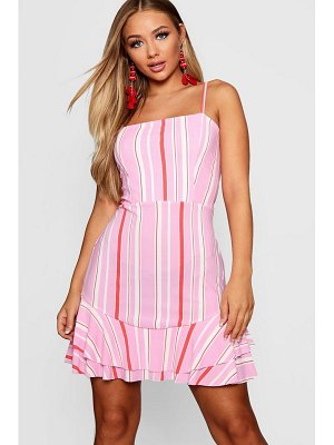 Boohoo Tie Back Ruffle Hem Striped Tea Dress