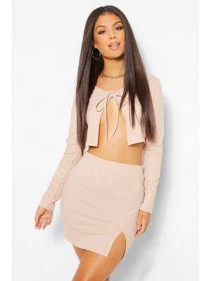 Boohoo Tie Front Rib Cardigan And Mini Skirt Co-Ord Set
